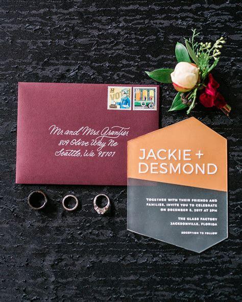 Modern Orange and Burgundy Acrylic Wedding Invitations