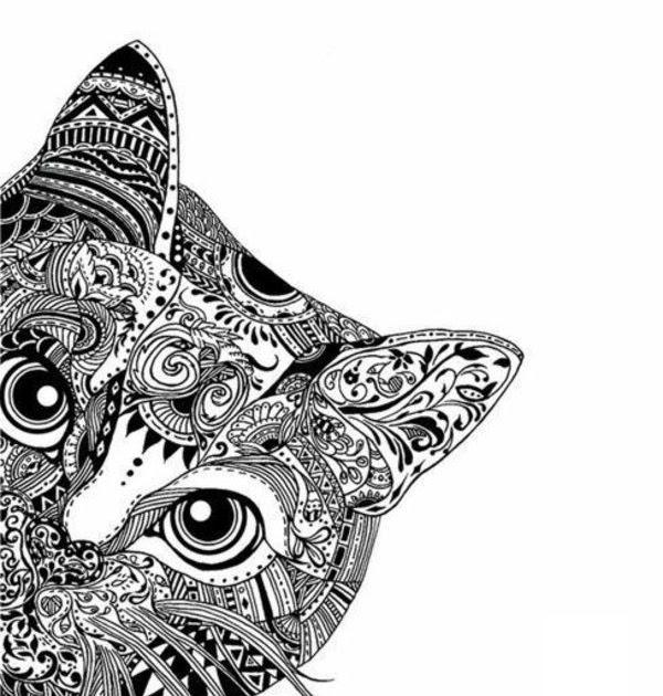 ausmalbilder katzen mandalas