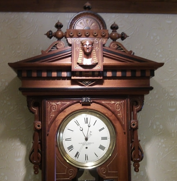 A close-up of the Hotel Providence's astonishing Egyptian clock.