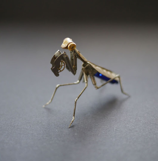 Tiny Insect Sculptures Made of Recycled Watch Parts