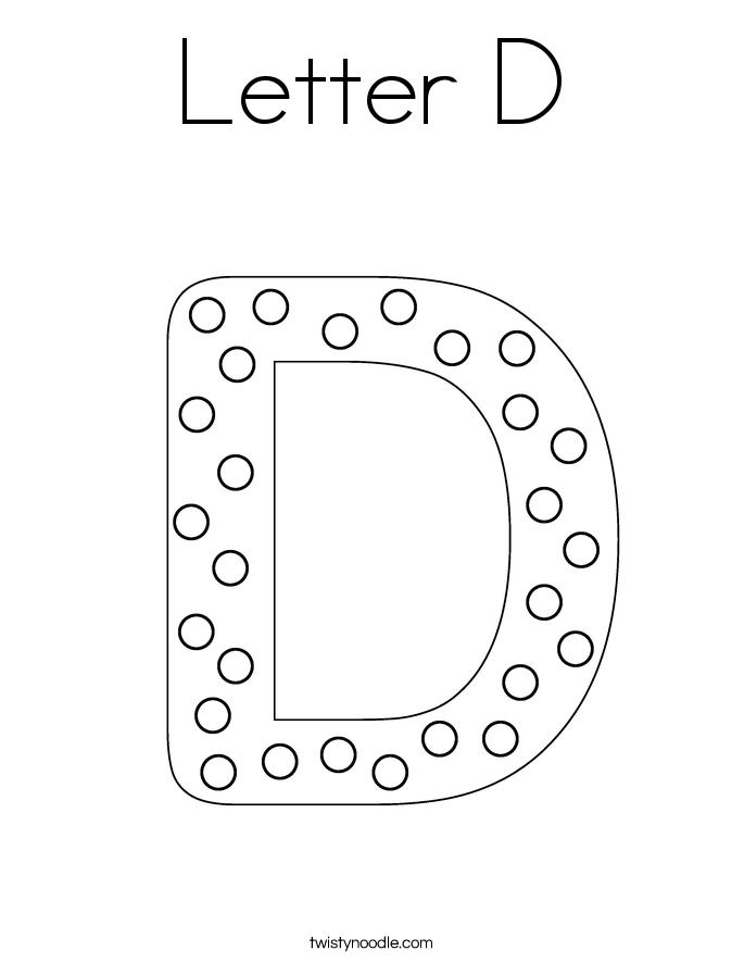 Letter D Coloring Page - Twisty Noodle