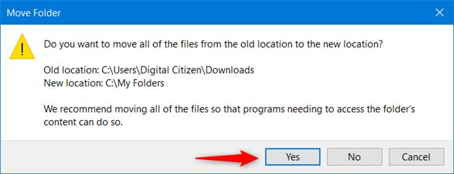 Mueva todos los archivos de la carpeta del usuario a la nueva ubicación