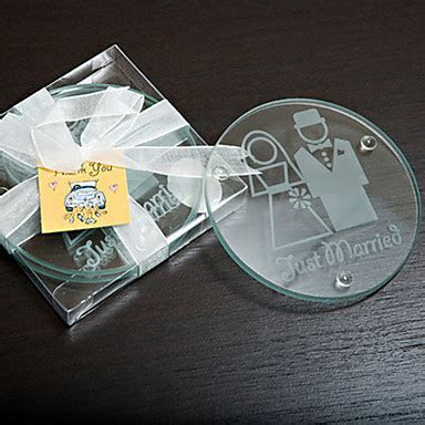 """Just Married"" Glass Coaster Favor   Set of 2 1277754 2017"