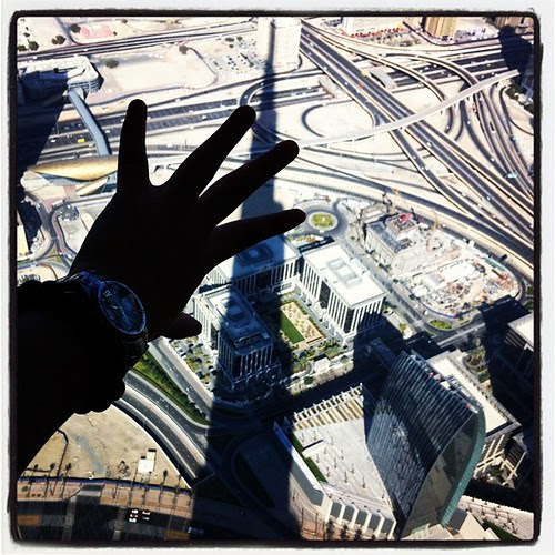 Touching the shadow of Burj Khalifa, tallest building in the world