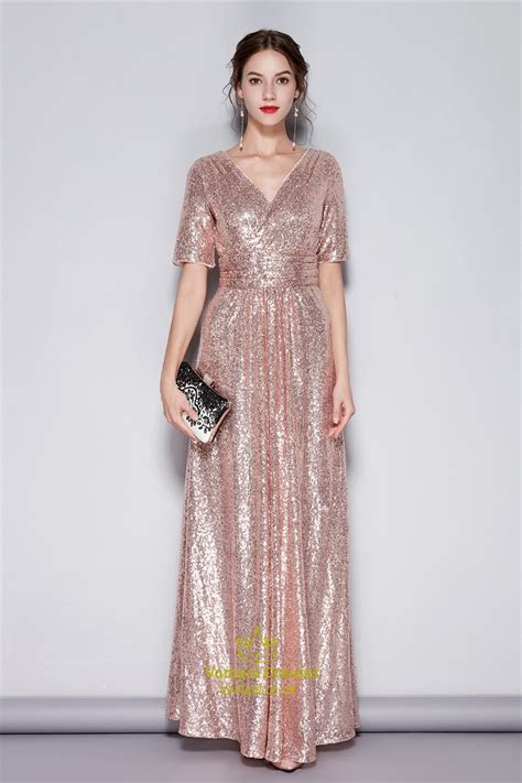 Pink V Neck Sequin Short Sleeves Bridesmaid Dress With