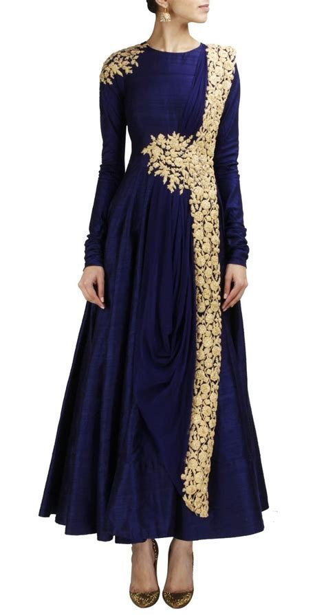Navy and gold anarkali by Ridhi Mehra   Desi Style