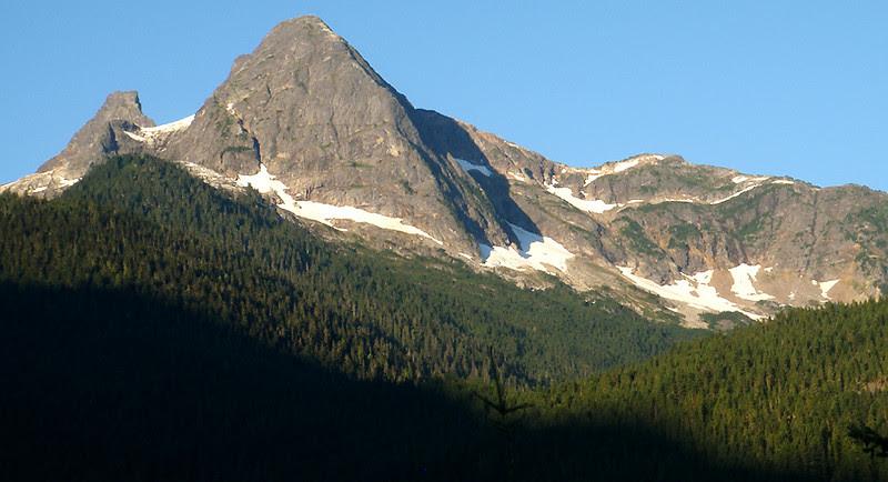 I think this is Pyramid Peak with Pinnacle Peak behind it.