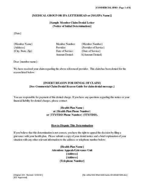 claim denial letter sample danetteforda