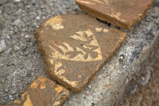 Day two - The team are already uncovering some fresh archaeology including more Medieval tiles