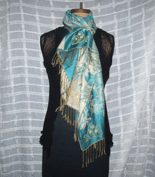 Mediterranean Blue & Wheat Floral Pashmina by BeachsideEclectibles