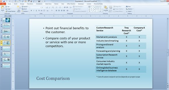 cost structure comparison template powerpoint