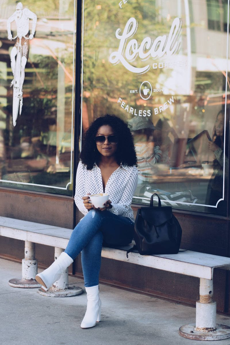 polka dots  white boots  casual fall outfit  venti fashion