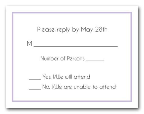 Thin Line Lilac Border RSVP Cards, Reply Cards, Response Cards