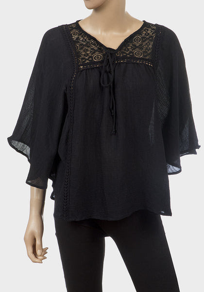 Black Oversize Batwing Top with Lace Detail