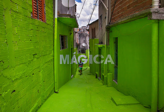 boa mistura gives a favela a multicolor metamorphosis with anamorphic alleyways