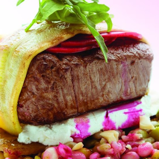 Australian Rump Medallion with Goat Cheese Packages, Hazelnuts, Shallots, and Yellow Lentil Vinaigrette
