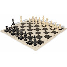 Standard Club Weighted Plastic Chess Set Black & Ivory Pieces with Black Roll-up Chess Board