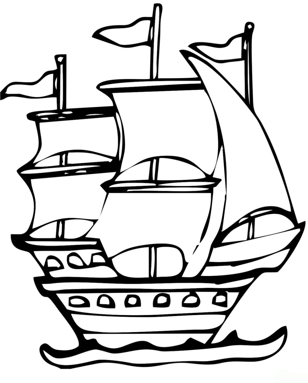 Ausmalbild Schiff kostenlos 5