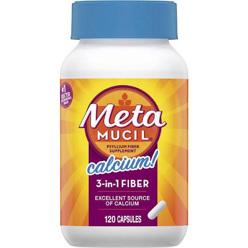 Metamucil MultiHealth Daily Fiber Supplement + Calcium, Capsules - 120 count