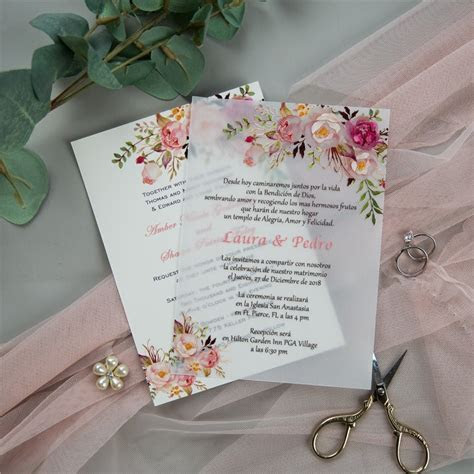 exquisite pink floral uv printing wedding invitations on