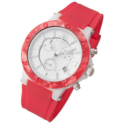 Rougois Pop Series Colorful Pink Silicone Band Watch
