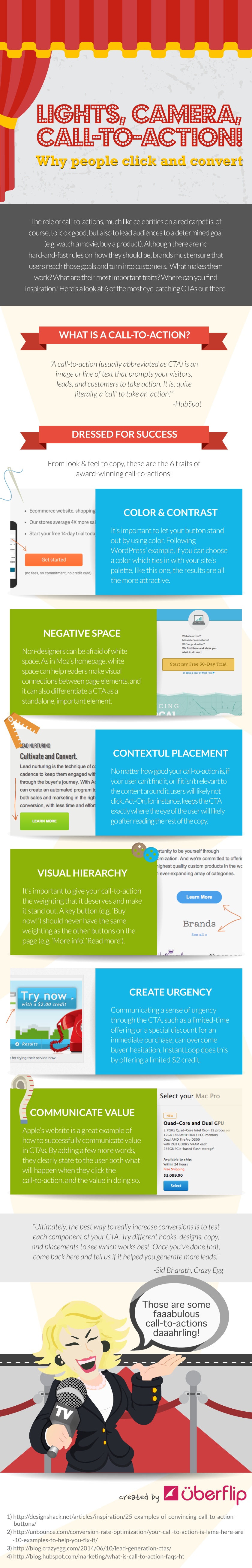 Lights, Camera, Call-To-Action: Why People Click and Convert - infographic - sales and marketing tips for blog and websites