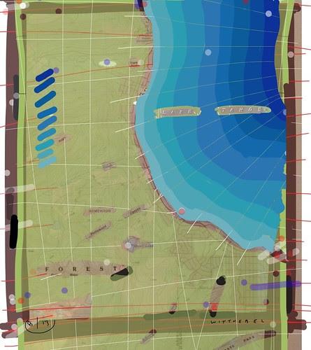 Map aerial Tahoe painting by douglaswittnebel
