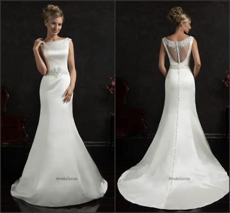 White satin wedding dress   Luxury Brides
