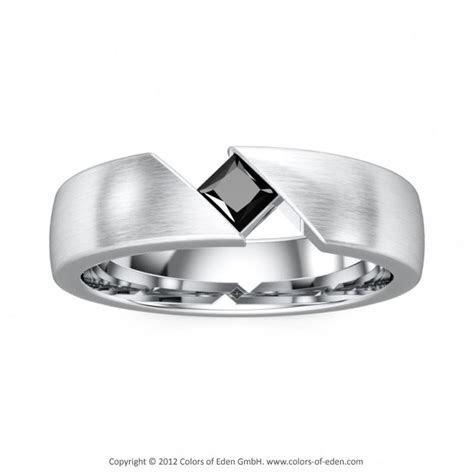 Men's Ring, Black Diamond Platinum Satin Finish   Men's