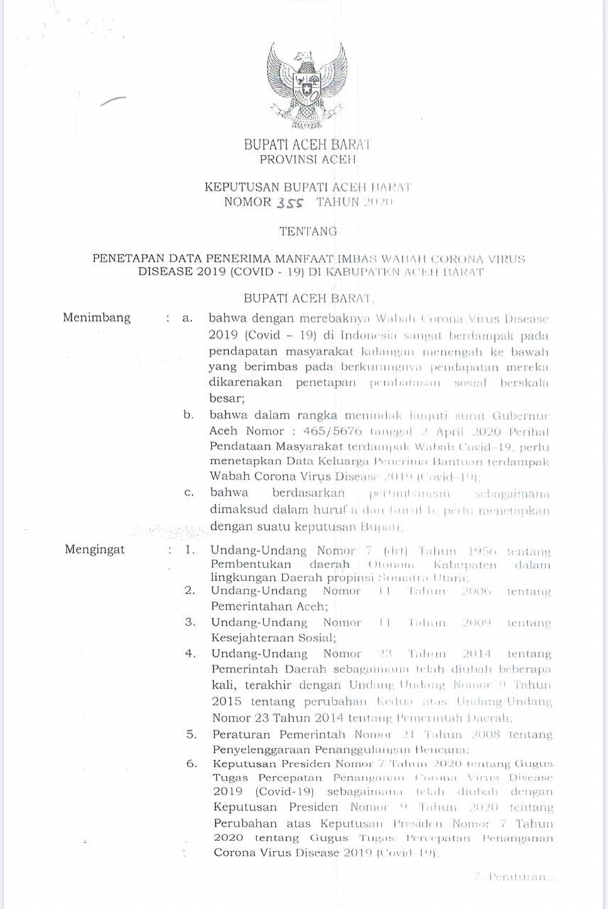 Contoh Surat Dinas Aceh Timur