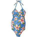 Maternity Floral Print Halter Neck One Piece Swimsuit - Isabel