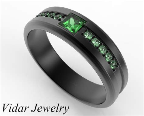 Princess Cut Emerald Black Gold Wedding Band For Him
