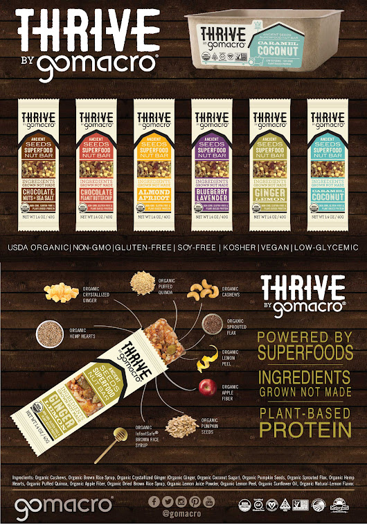 New Thrive Bars: A GoMacro Healthy Snacks Giveaway!