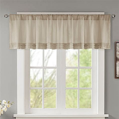 Madison Park Emily Faux Silk Solid Pleated Window Valance