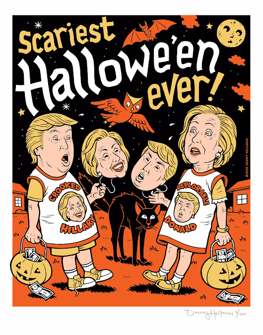 Love Halloween? Hate the 2016 Presidential election? Here's the signed, limited edition screen print for you!  - from @dannyhellman on Ello.