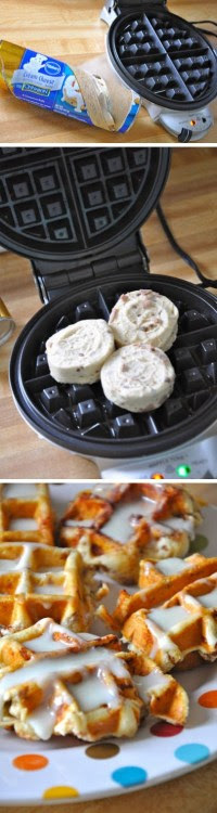 thedailywhat:  Cinnamon Roll Waffles of the Day: Do it yourself! Or follow the easiest directions ever. [littlebitfunky]