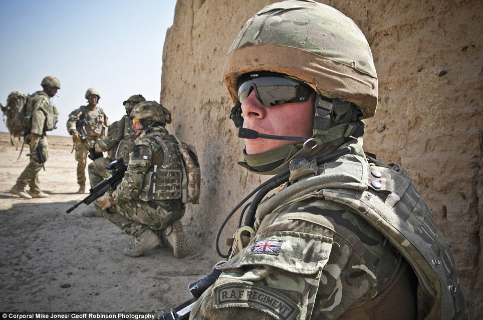 This picture, taken by 2012 RAF Photographer of the year Corporal Mike Jones from RAF Marham, shows SAC Mulligan and troops from 58 Squadron RAF Regiment conducting a routine patrol near Camp Bastion in Afghanistan