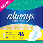 Always Ultra Thin Pads Unscented with Wings - Regular Absorbency - Size 1 - 46ct