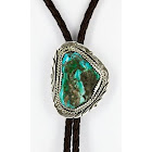 Handmade Certified Authentic Navajo .925 Sterling Silver Natural Turquoise Native American Bolo Tie, Adult Unisex, Grey Type