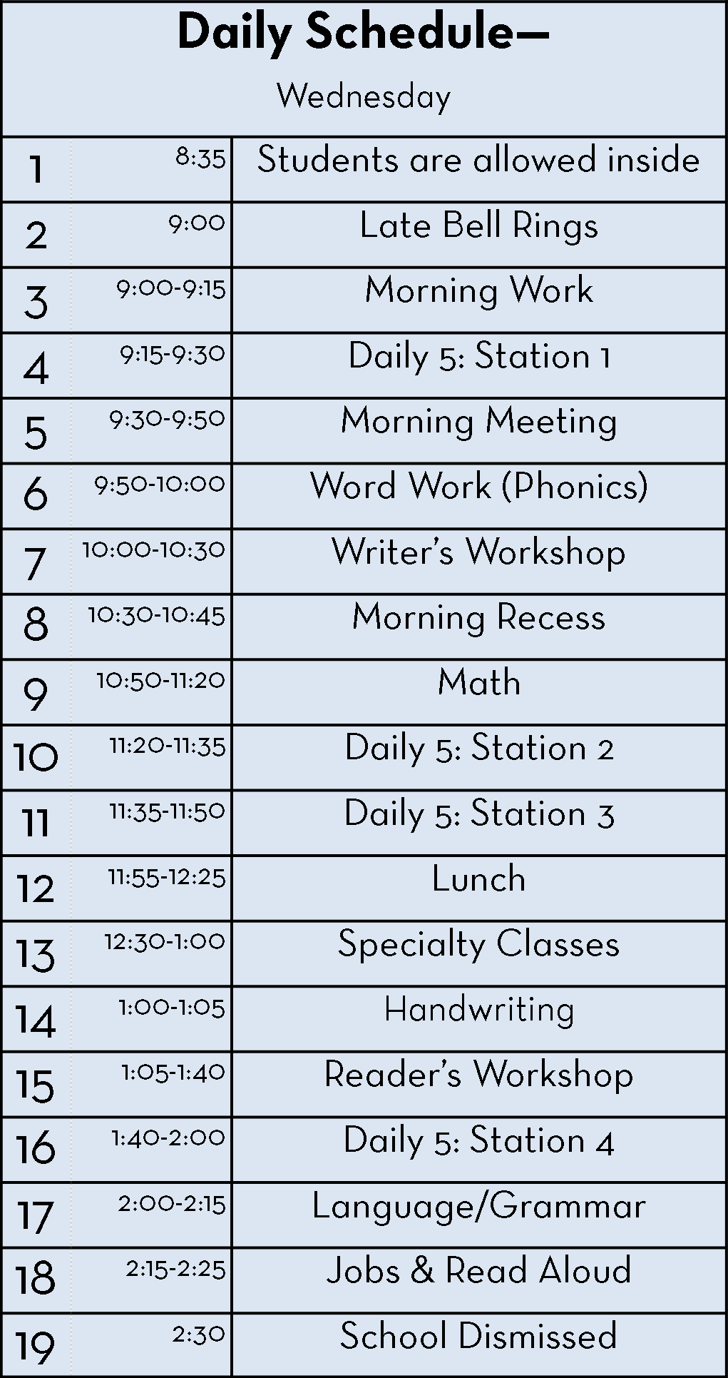 Daily 5 Schedule 3rd Grade – Daily Planner