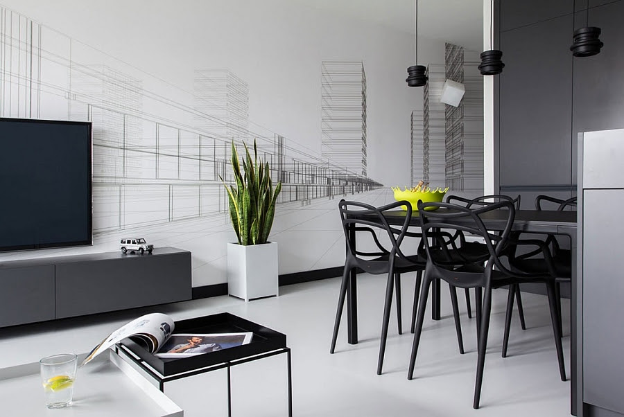 Sculptural dining table chairs offer geometric contrast to the simple, straight lines that surround them