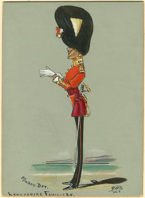 ultra-skinny comical side-on sketch of large bearskin hat-wearing soldier