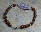 Men's Bracelet with Tibetan Agate and Golden Sponge Coral