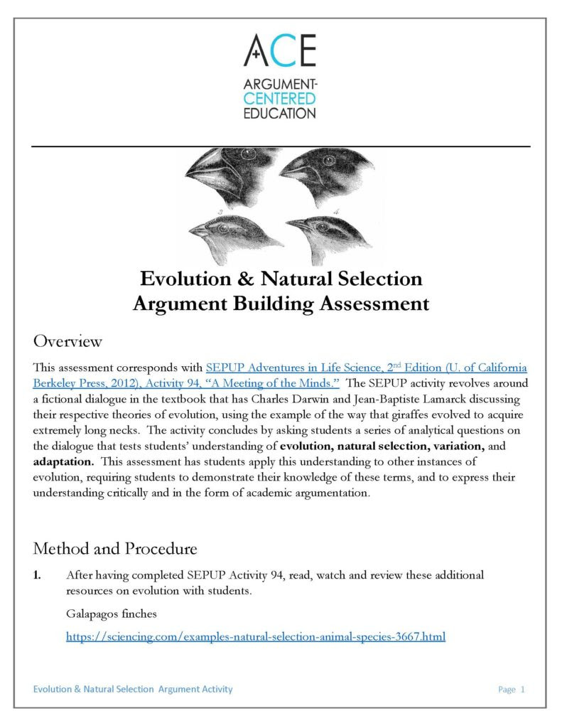Evolution And Natural Selection Worksheet