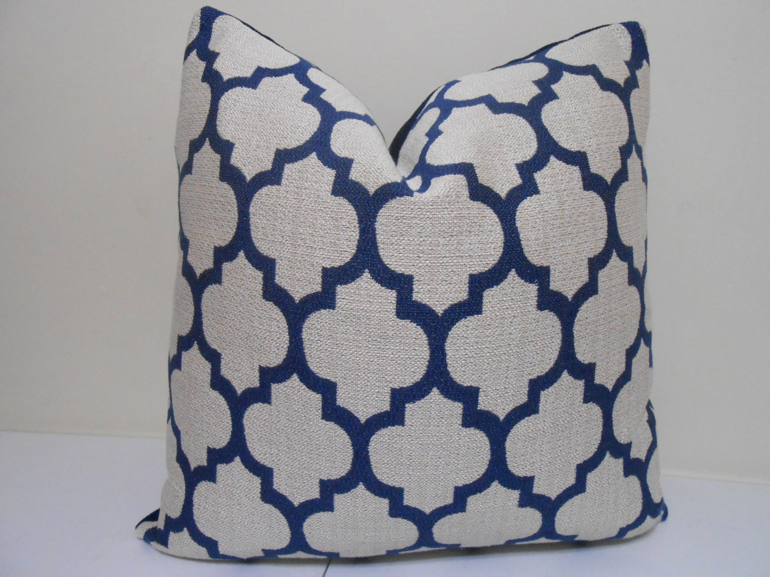 Navy Blue Pillow cover- Robert  Allen, quaterfoil pillow - Casablanca Pillow  20 x 20 inch -