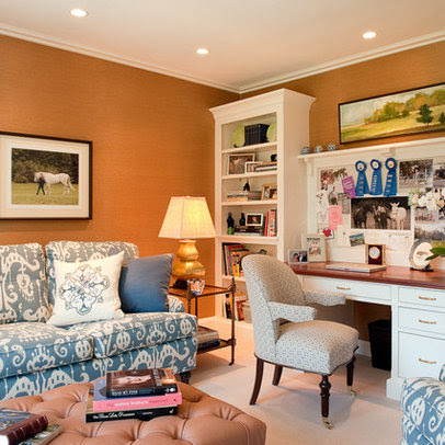 Home Office Design Ideas on Home Office Brown Leather Sofa Design Ideas  Pictures  Remodel And
