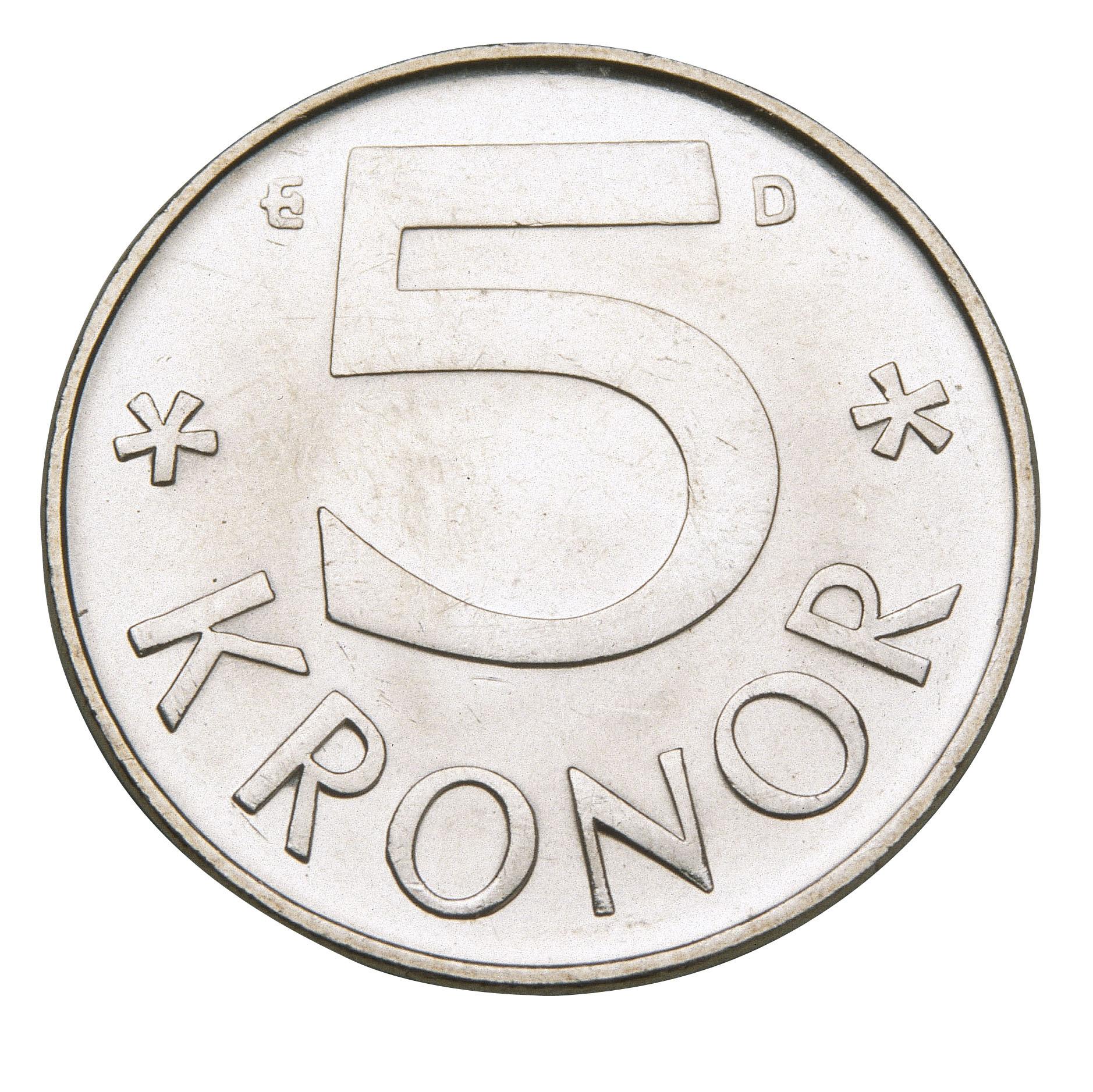Swedish five crown coin