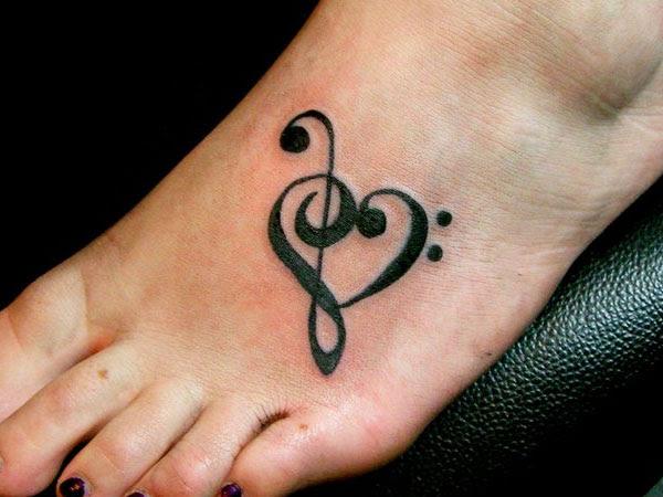 Music Heart Foot Tattoo