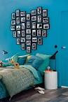 Bedroom: BLue Wall Painting Cool Headboard Ideas, Curve Shaped ...