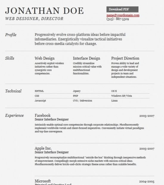 doc modern cv template word free download